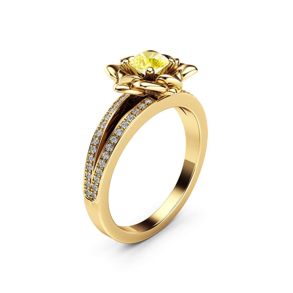 MGZDH Womens Ring Luxury Rose Womens Ring Copper Plated Silver Gold Separated Zircon Ring Yellow No 10