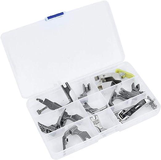 HEEPDD Juego de prensatelas de 12 Piezas, Kit de pies de prensatelas para máquina de Coser Industrial de Acero con Estuche de plástico Caja de Prensa de máquina Plana para computadora: Amazon.es: