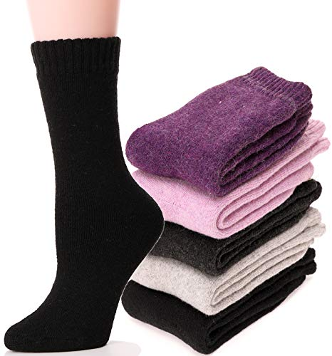 Womens Wool Socks Fuzzy Heavy Thermal Thick Warm Cotton Boot Winter Socks 5 Pairs (Mix Color A)