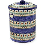 Polish Pottery Jar with Lid and Handles 14-inch Polonia UNIKAT