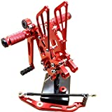 FXCNC R6 Motorcycle Rear Foot Pegs CNC Rear set Footrests Fully Adjustable Rear Foot Boards Fit for YAMAHA YZF R6 2006-2014 Red