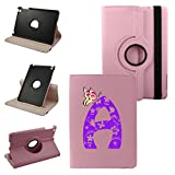 Mini iPad Letter A Cover Synthetic Leather Rotating Ipad Case: 360 Degrees Multi-angle Vertical and Horizontal Stand with Strap (A-Pink)