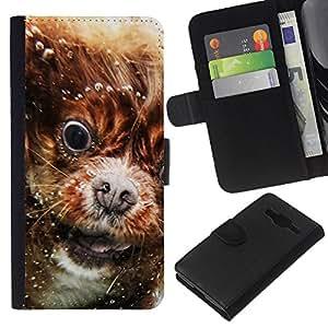 KLONGSHOP // Tirón de la caja Cartera de cuero con ranuras para tarjetas - Cavalier King Charles Spaniel Puppy Nieve - Samsung Galaxy Core Prime //