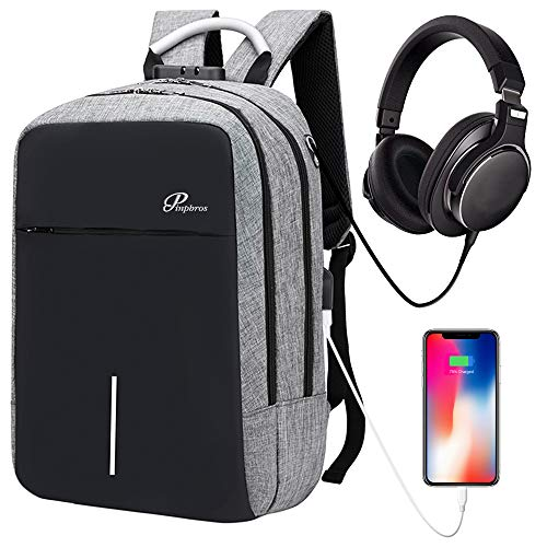 Laptop Backpack Business Travel Backpack for Men Women, Anti-theft Water Resistant College School Backpack aluminum handle with USB Charging Port Headphone Interface Fits Under 14inch Laptop (Grey)