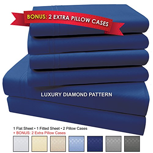 "My Perfect Nights Microfiber Bed Sheet Set, 6 PIECE, SLEEP BETTER THAN EVER, Premium COOL Ultra Soft Luxury 15"" DEEP POCKETS on fitted sheet - Egyptian Quality 1600 Series (Queen, Dark Blue)"