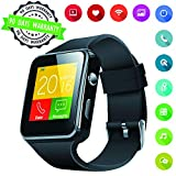Smart Watches Camera Smart Watch Touch Screen Supported Bluetooth Smart Watchs with Sim Card Slot Compatible with Android Samsung S9 S8 iOS iPhone 8 7S Man Women Kids (Black)