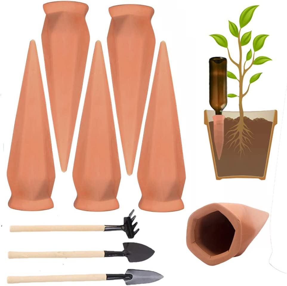 Plant Waterer Self Watering Spikes, 6 Pcs Terracotta Plant Watering Wine Bottle Stakes for Indoor Outdoor Plants, Vacation Automatic Irrigation Watering Device