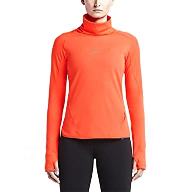 Nike Women's Aeroreact Pullover Running Shirt Hyper Orange (Small)
