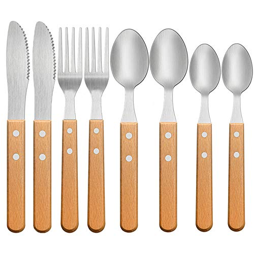 Sealive 8 Piece Stainless Steel Flatware Cutlery Wooden Silverware Kit, Kitchen Table Utensils Knives Forks and Spoons set with Wooden Handles, Service for 2
