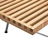 POLY & BARK Slat 5' Bench with Chrome Legs, Natural