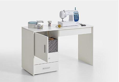 RONZ® Clara - Mueble de Mesa para máquina de Coser, Color Blanco