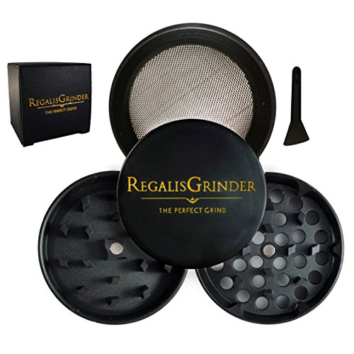 2' Magnetic Catch - Regalis Premium Herb Weed Grinder, Grinder for weed with Keef Catcher [Exclusive] 2'' (50mm) Black Gold - Crown Series
