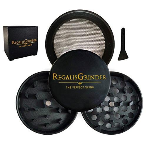 Regalis Premium Herb Grinder with Pollen Catcher, [Exclusive] 2'' (50mm) Black Gold - Crown Series