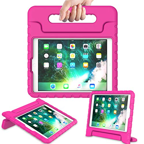 AVAWO Kids Case for New iPad 9.7 2017 & 2018 Release - Light Weight Shock Proof Convertible Handle Stand Friendly Kids Case for iPad 9.7-inch 2017 & 2018 Latest Gen (iPad 5th & 6th Gen - Magenta/Rose