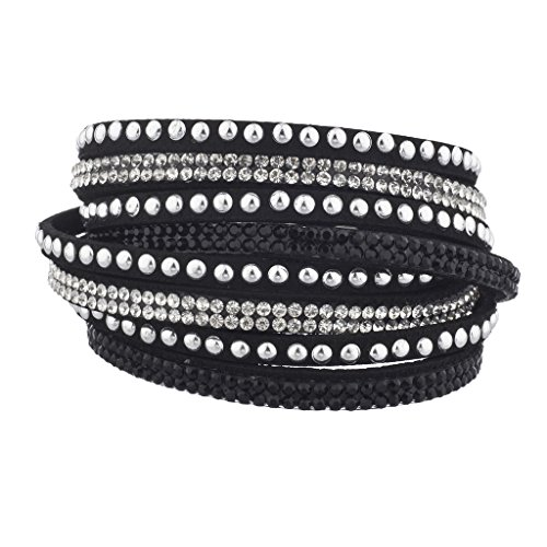 Lux Accessories Black Silver Tone Studded Crystal clear Stone Wrap Bracelet (Watch Cuff Studded)