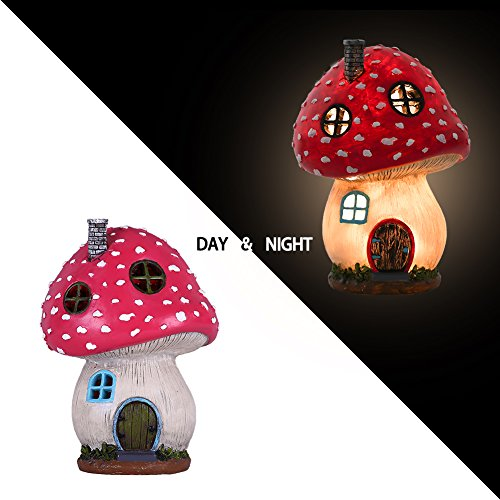 TERESA'S COLLECTIONS Mushroom Fairy Garden House Statue Accessories with Solar Light,Fairy Garden Cottage Figurines Sculptures for Outdoor Decoration (Resin) (Mushroom Statue)
