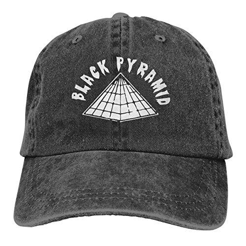 - Adult Fashion Cotton Denim Baseball Cap Black Pyramid Classic Dad Hat Adjustable Plain Cap