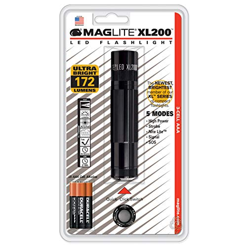 Maglite XL200 LED 3-Cell AAA Flashlight, Black