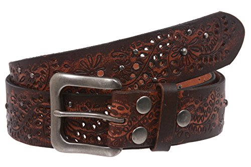 Snap On Embossed Vintage Cowhide Full Grain Leather Floral Rivet Perforated Belt Size: 40 Color: Brown