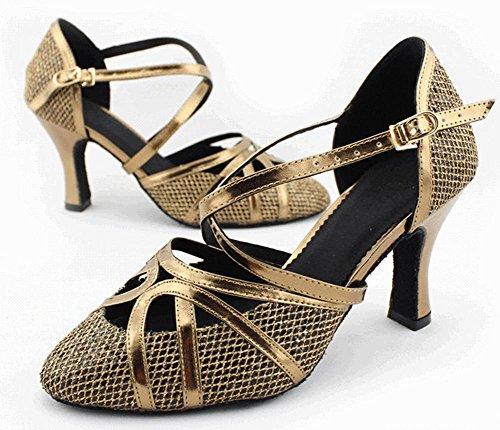 Minitoo QJ6109 Womens Almond Toe Med Heel Bronze Glitter Meterial Salsa Tango Ballroom Latin Strappy Dance Sandals 8 M US