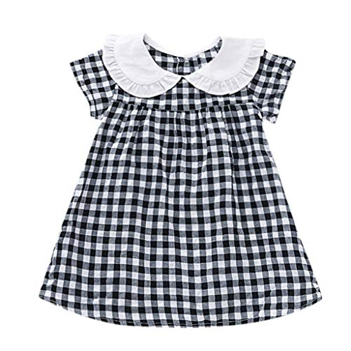 iLOOSKR Toddler Baby Girls Short Sleeve Plaid Print Party Princess Dresses 6M-4Yrs Black