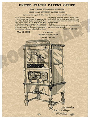 1932 Claw Amusement Machine PATENT ART PRINT on High Quality Parchment Stock - Produced from Original US Patent File