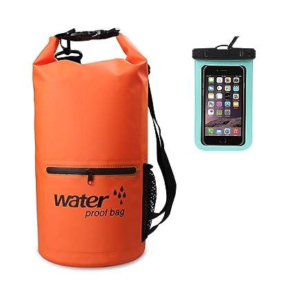 Mooedcoe 10L/20L Bolsa Estanca Mochila Impermeable para Kayak, Playa, Rafting, Pesca, Escalada y Natación con Funda Impermeable Móvil
