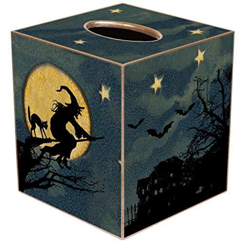 Vintage Paper Mache Halloween Decorations (Halloween Scene Paper Mache Tissue Box Cover • Halloween)