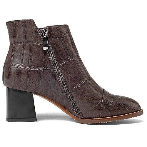 Nio Sju Äkta Läder Womens Rund Tå Chunky Häl Zip Upp Klassiska Handgjorda Ganska Boots Brun