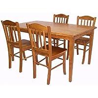 Boraam 80136 Shaker 5-Piece Dining Room Set, Oak