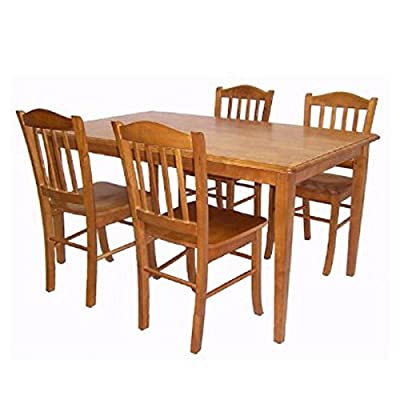 """Boraam 80136 Shaker 5-Piece Dining Room Set, Oak - Ready To Assemble construction (RTA): all tools are included making assembly easy as 1, 2, 3! Constructed with solid hardwood 36"""" x 60"""" Table top - kitchen-dining-room-furniture, kitchen-dining-room, dining-sets - 51jkFXTg1cL. SS400  -"""