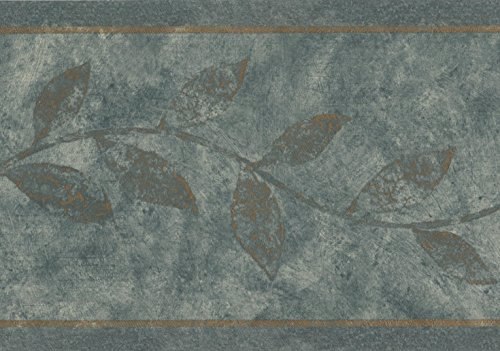 Pine Green Leaves on Vine Floral Rustic Wallpaper Border Retro Design, Roll 15' x 7''