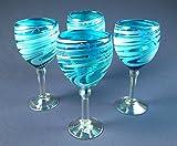 Wine Glasses Hand Blown Glass Turquoise & White Iridescent Swirl, 14 oz Set of 4