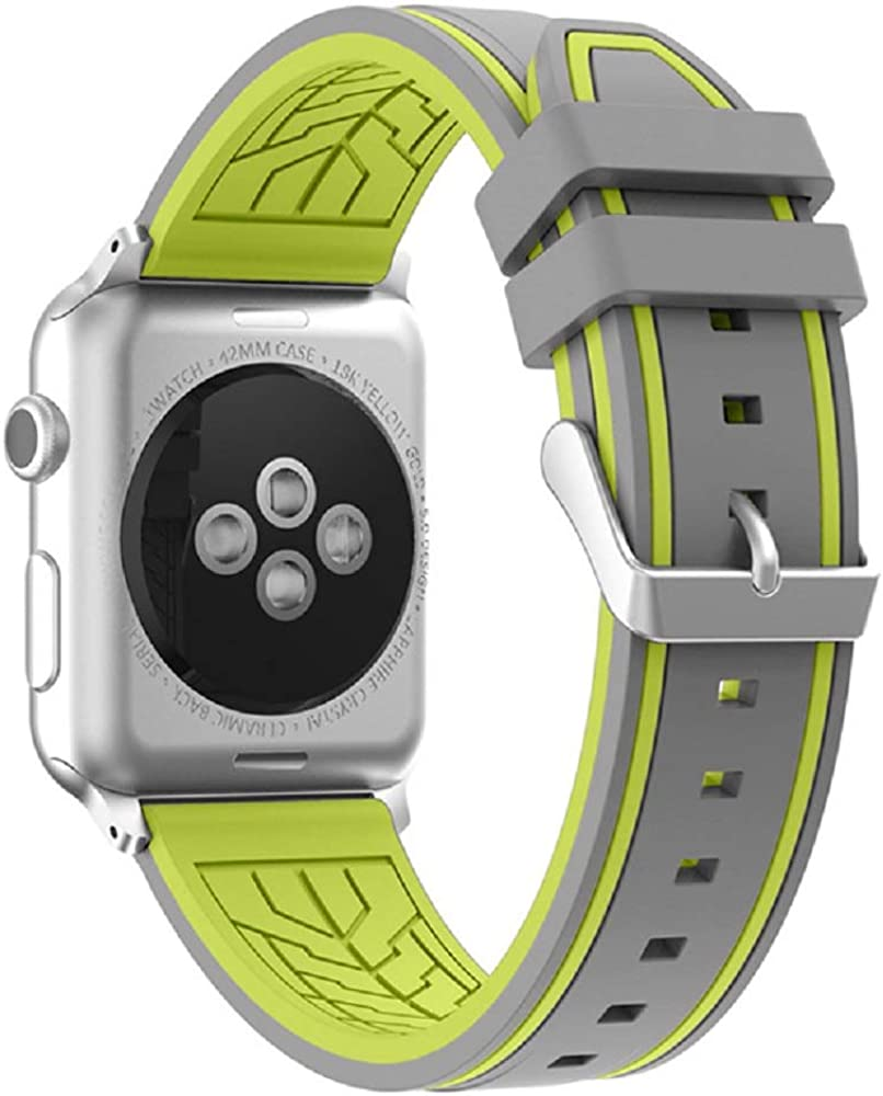 Fmway Repuesto de Correa Reloj de Silicona para Apple Watch Series 4 42mm, Apple Watch Series 3/2/1 42mm, Hombre y Mujer (Apple Watch Series 4, Gris + Verde): Amazon.es: Relojes