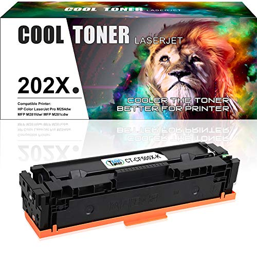 Cool Toner Compatible Toner Cartridge Replacement for HP 202X CF500X Black Toner MFP M281fdw M254dw HP Color Laserjet Pro MFP M281 M281fdw M281cdw M254dw M254dn M254nw M280nw Printer Toner-1 Pack