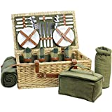 HappyPicnic Fitted Willow Picnic Basket with Deluxe Service for 4 Persons, Natural Wicker Picnic Hamper, Willow Picnic Set with Food Cooler, Wine Cooler, Fleece Blanket and Tableware (Green) For Sale