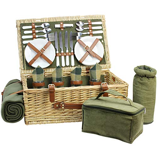 Deluxe Picnic Blanket - Large Wicker Picnic Basket for 4 with Deluxe Service Set, Natural Willow Picnic Hamper with Food Cooler, Wine Cooler, Free Fleece Blanket and Tableware - Best Gift for Father Mother