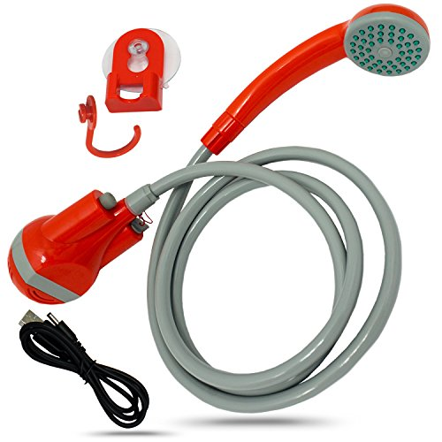 Perfect Life Ideas Handheld Indoor Outdoor Portable Shower - Hand Held Rechargeable Showerhead Pumps Water from Bucket or Tub - Best for Pets RV Cars Baby Camping Travel Beach Bidet Toilet Seniors by by Perfect Life Ideas