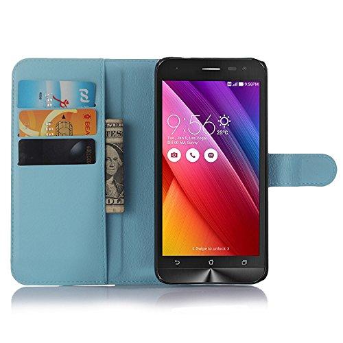 Nadakin Asus Zenfone 2 Laser ZE500KL 5.0 Inch Calidad Premium Cartera de Cuero con Carcasa de Teléfono Flip Funda con Soporte Magnetico de Cierre para Asus Zenfone 2 Laser ZE500KL 5.0 Inch (Púrpura) Cielo azul