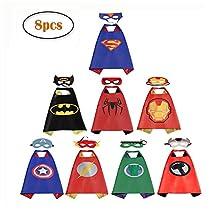 RioRand Comics Cartoon Heros Dress Up Costumes 8 Satin Capes with Felt Masks