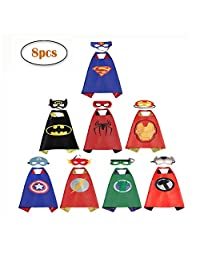 RioRand Comics Cartoon Heros Dress Up Costumes 8 Satin Capes with Felt Masks