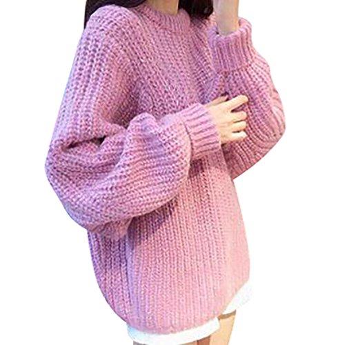 YOUJIA Sueter Suéter Tejido de Mujer Jerseys de Punto Mujeres Jersey Suelto Pullover Sueteres Tejidos Sueters Manga de Murciélago para Dama Pink