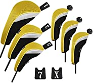 Andux Golf Hybrid Club Head Cover and Wood Club Head Cover Set with Interchangeable No. Tag Pack of 6