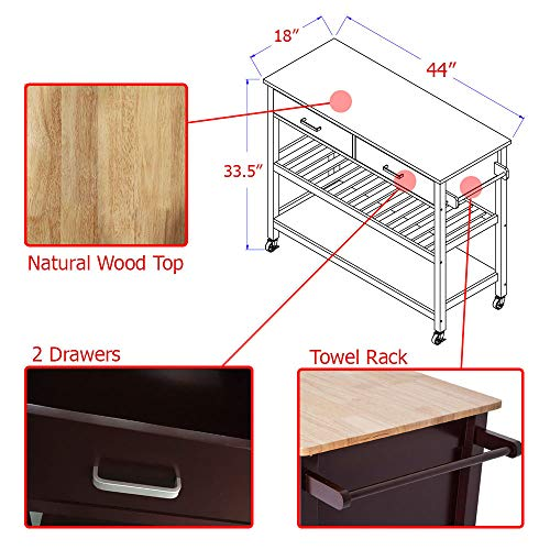 Clevr Rolling Kitchen Cart Island on Wheels Trolley, Cabinet w/Drawer, Shelves Storage Shelf, 100% Natural Rubberwood Top, Walnut Colored by Clevr (Image #3)