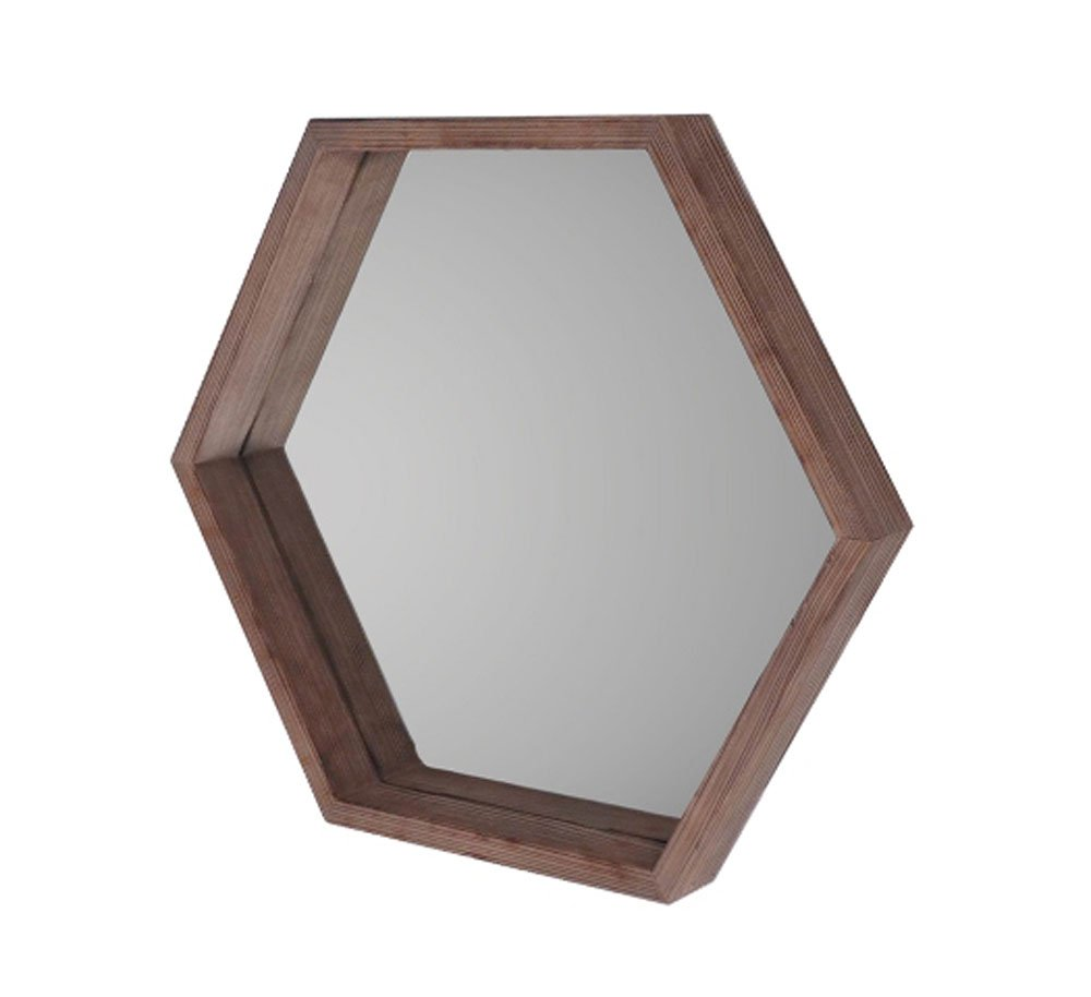 Cheung's Hexagon Mirror with Wood Frame