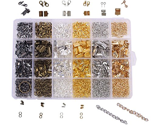 BIHRTC 24 Style 1940 Pcs Jewelry Making DIY Kit Accessories Lobster Clasps, Screw Eyes Pin, Cord Ends, Ribbon Ends, Jump Rings, Extension chain with Jump Ring Open Tool in a Clear Box