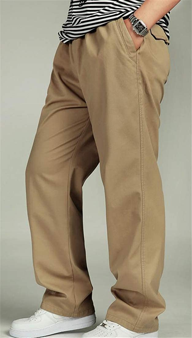 Hajotrawa Mens Classical Open Bottom Plus Size Cargo Loose Active Casual Trousers Solid Pants