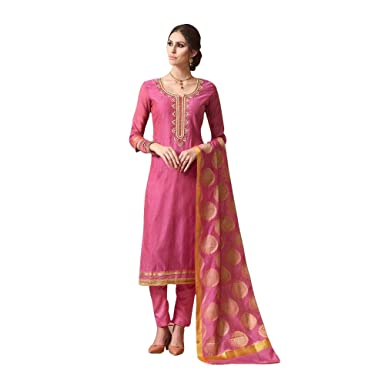 fc2f8931cd Like A Diva Pink Chanderi Designer Salwar Kameez With Banaras Silk Dupatta  Semi Stitched Dress Material For Women: Amazon.in: Clothing & Accessories