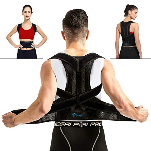 Breathable Back Support Brace - Vest for Women and Men - Straighten and Correct Posture  Corrector  Provides Lumbar Support - Adjustable (Waist 31.5-35.4 in)