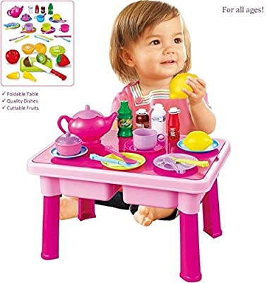 Pretend Play Table with Toy Dishes - Cuttable Play Fruits - Play Tea Set and More   Makes a Great Gift for Toddlers, Boys, and Girls